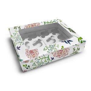 Fleurige doos voor 12 cupcakes (10 st.)