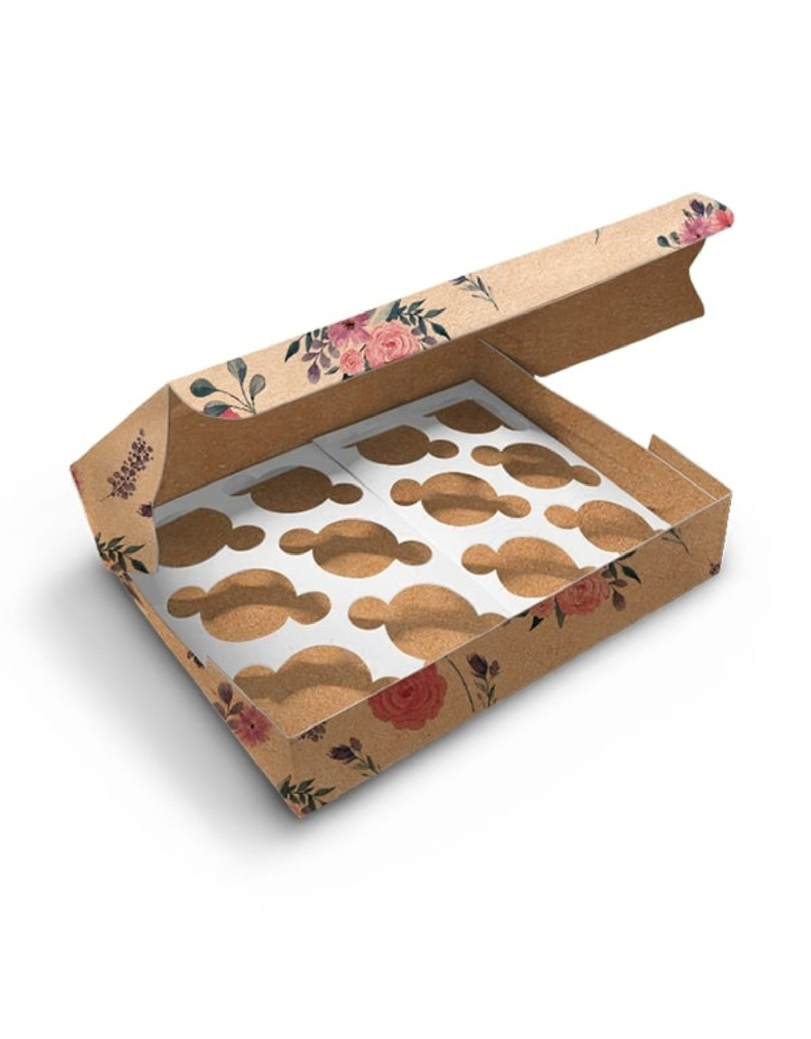 Floral kraft box for 12 cupcakes (per 10 pieces)
