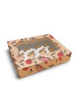 Fleurige kraft doos voor 12 cupcakes (per 10 stuks)