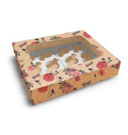 Fleurige kraft doos voor 12 cupcakes (10 st.)