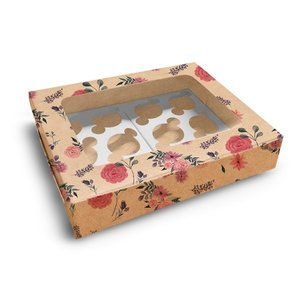 Floral kraft box for 12 cupcakes (10 pcs.)
