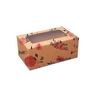 Floral kraft box for 2 cupcakes (10 pcs.)