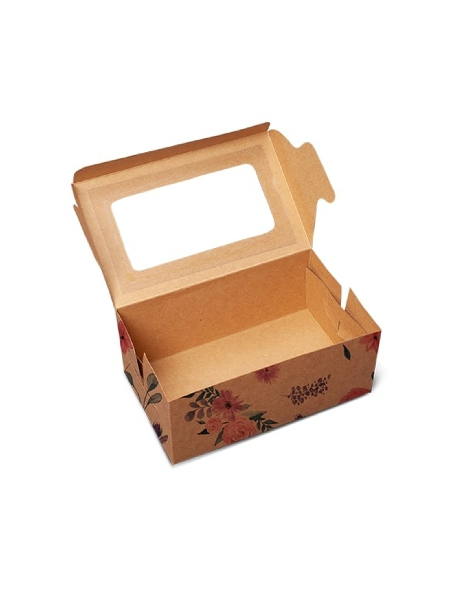 Floral kraft box for 2 cupcakes (per 10 pieces)