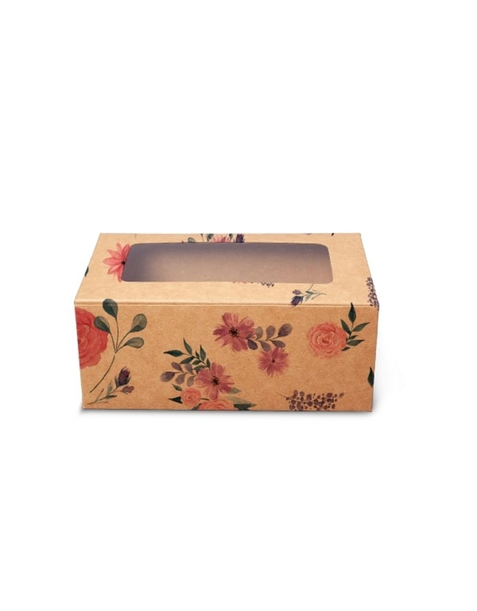 Fleurige kraft doos voor 2 cupcakes (per 10 stuks)