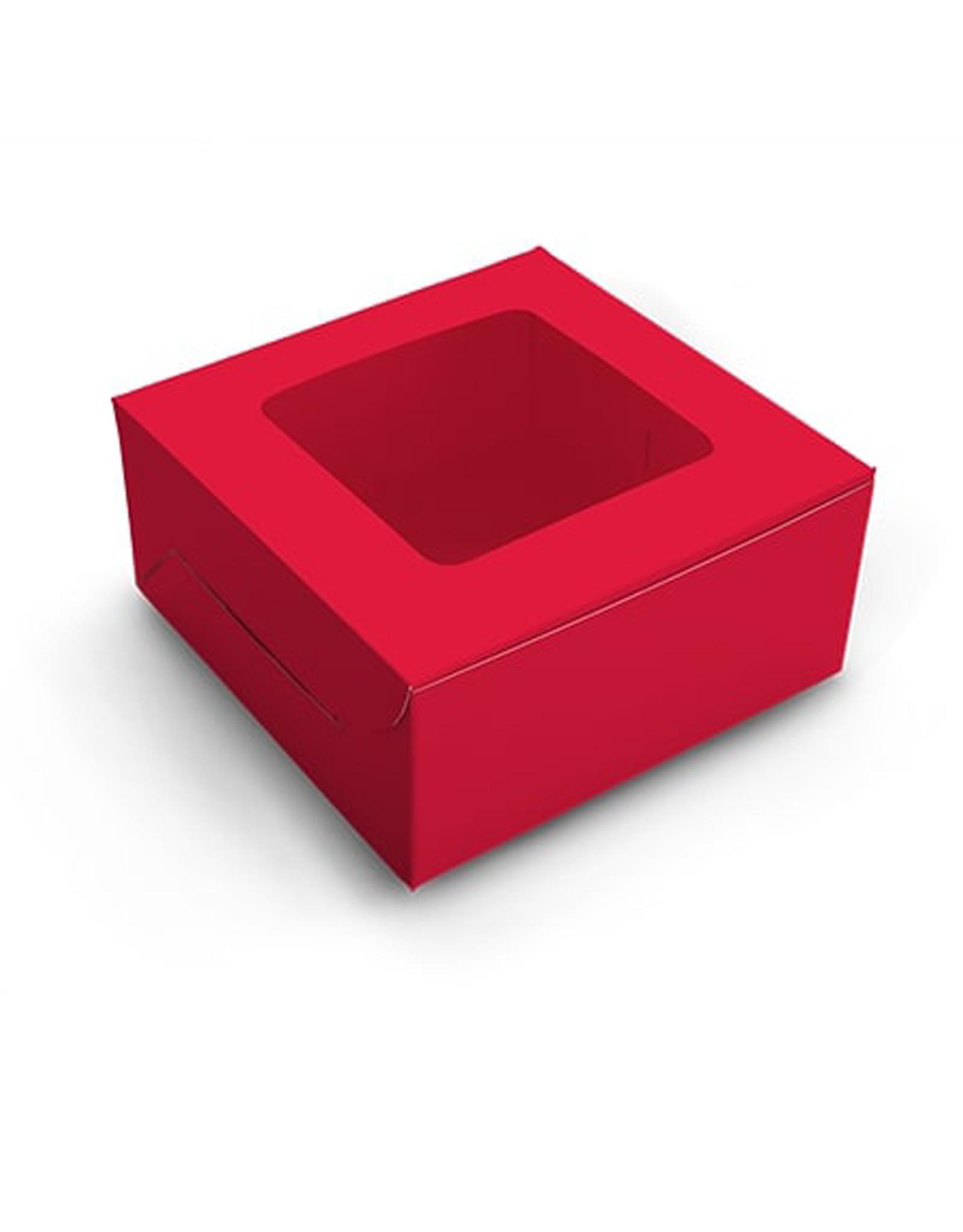 Rode doos voor 4 cupcakes (per 10 stuks)