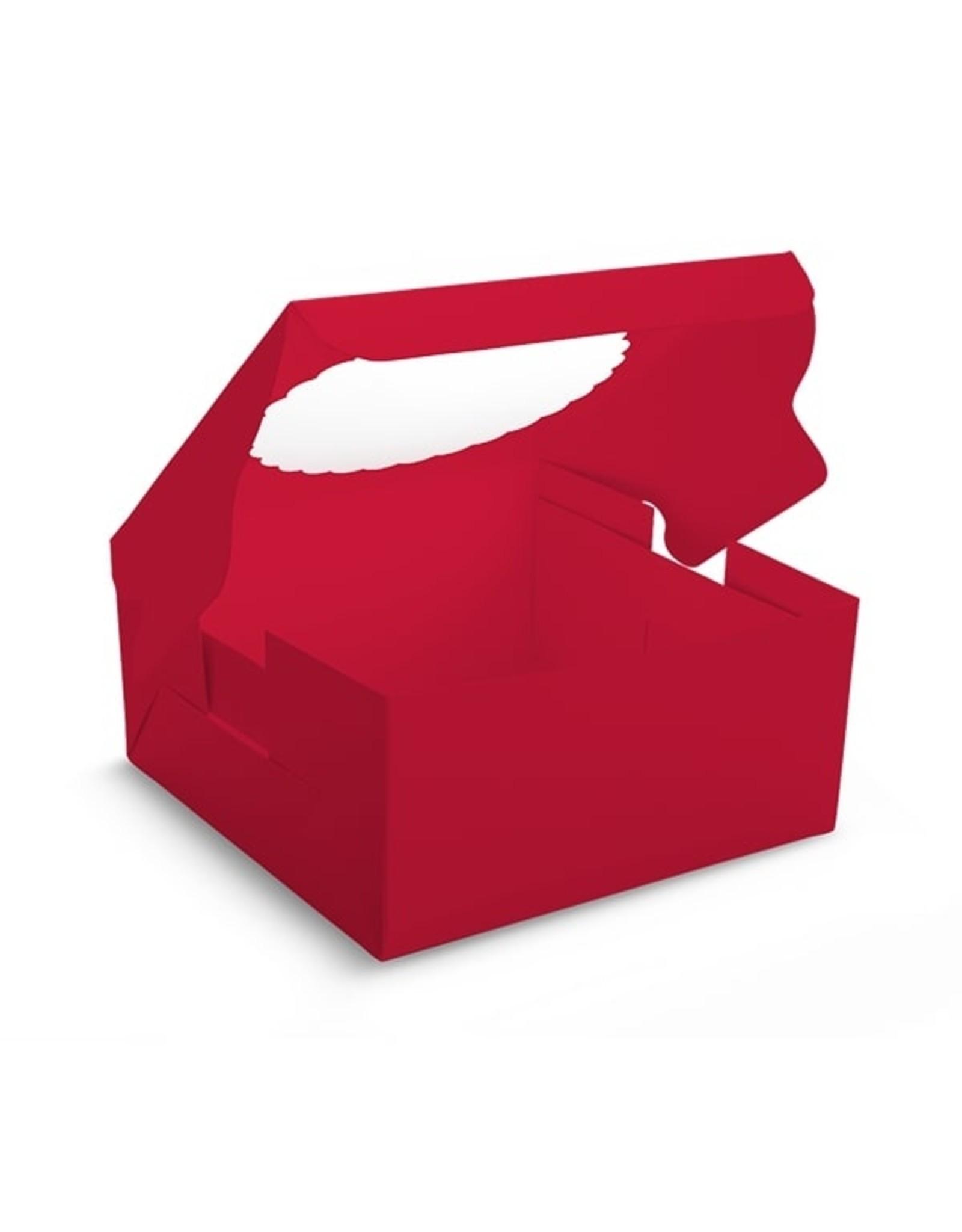 Rode taartdoos met venster - 203 x 203 x 127 mm (per 10 stuks)