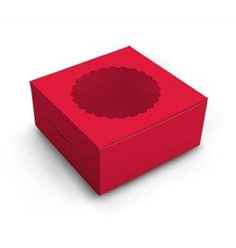 Red window cake box - 20x20x13 (10 st)