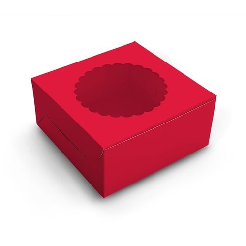 Red window cake box - 203 x 203 x 127 mm (per 10 pieces)
