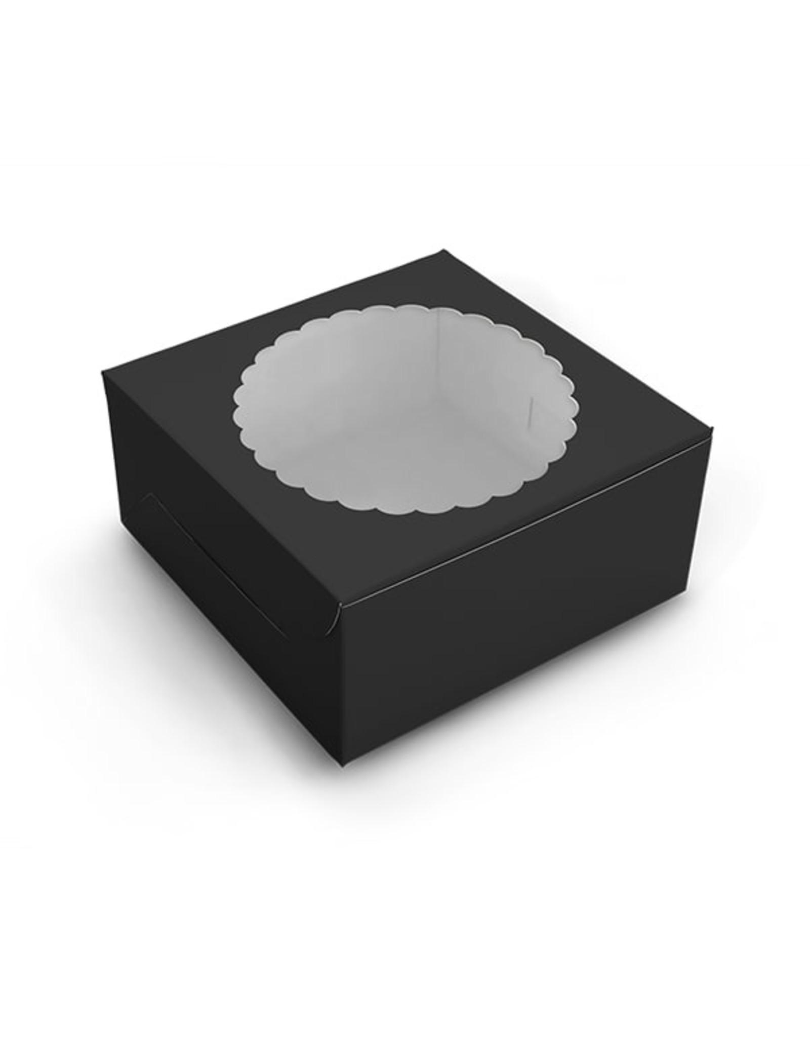 Black window cake box - 203 x 203 x 127 mm (per 10 pieces)