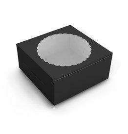 Zwarte taartdoos met venster - 20x20x13 (10 st)