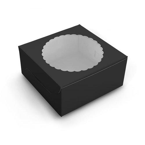 Zwarte taartdoos met venster - 203 x 203 x 127 mm (per 10 stuks)