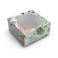 Fleurige taartdoos met venster - 20x20x13 (10 st)
