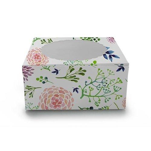 Floral window cake box - 203 x 203 x 127 mm (per 10 pieces)