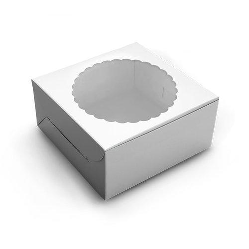 Witte taartdoos met venster - 20x20x13 (10 st)
