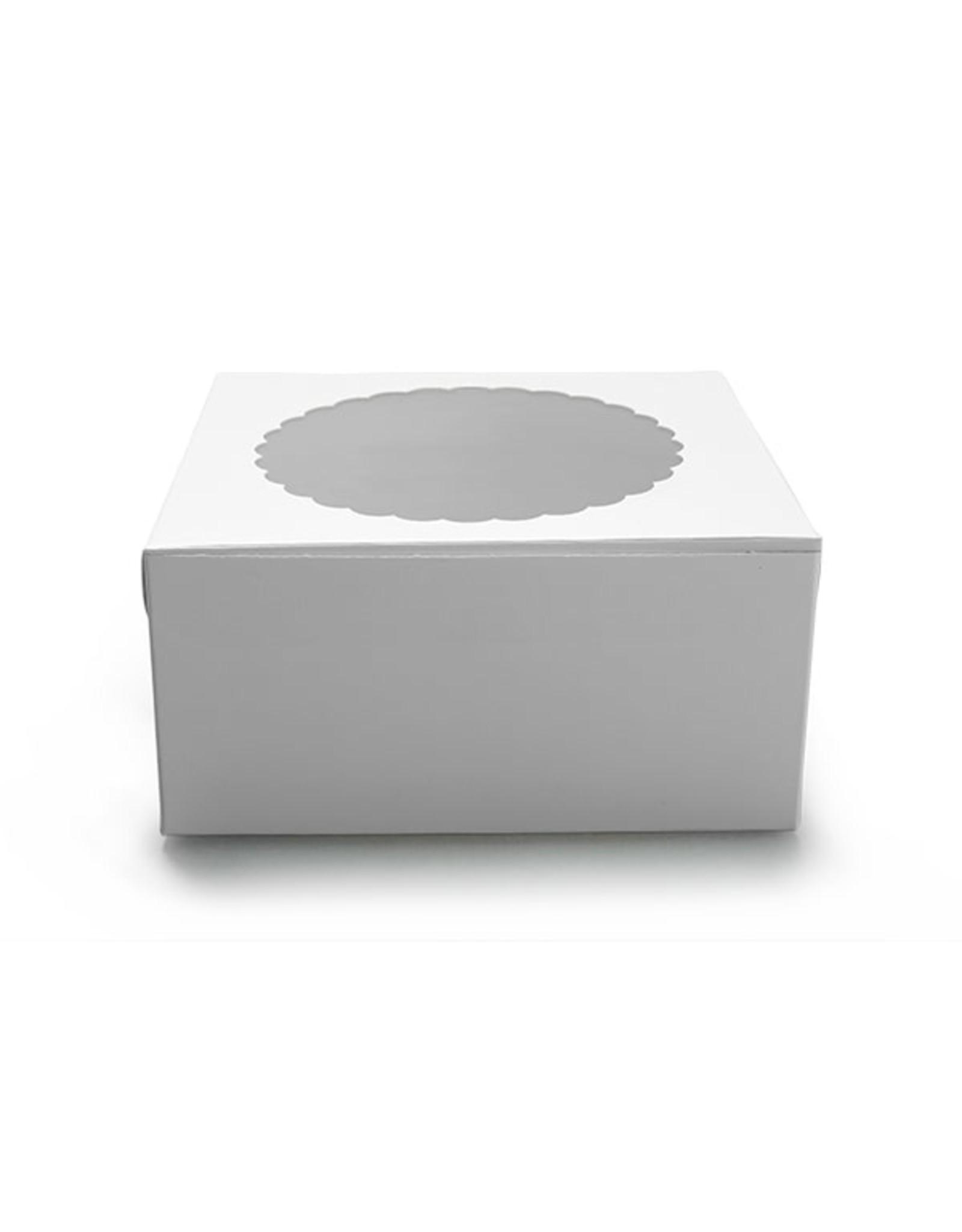 Witte taartdoos met venster - 203 x 203 x 127 mm (per 10 stuks)