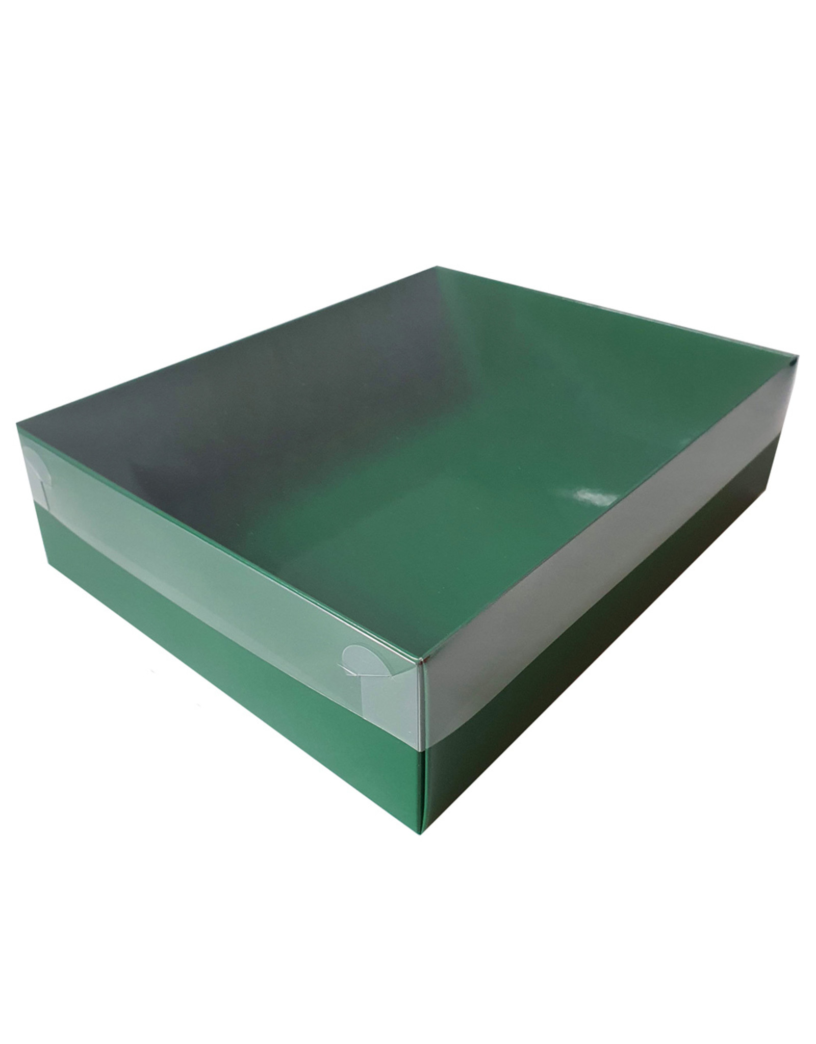 Green sweets box with clear lid - 25 x 20 x 7 cm (per 50 pieces)