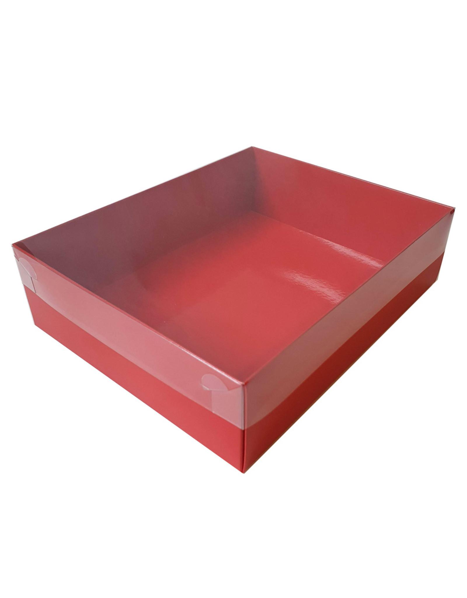 Rode sweetsbox met transparant deksel - 25 x 20 x 7 cm (per 50 stuks)