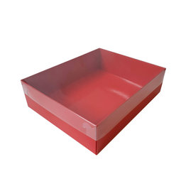 Red sweets box with clear lid (50 pcs.)