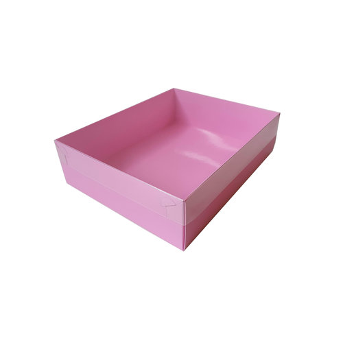 Candy pink sweets box with clear lid - 25 x 20 x 7 cm (per 50 pieces)