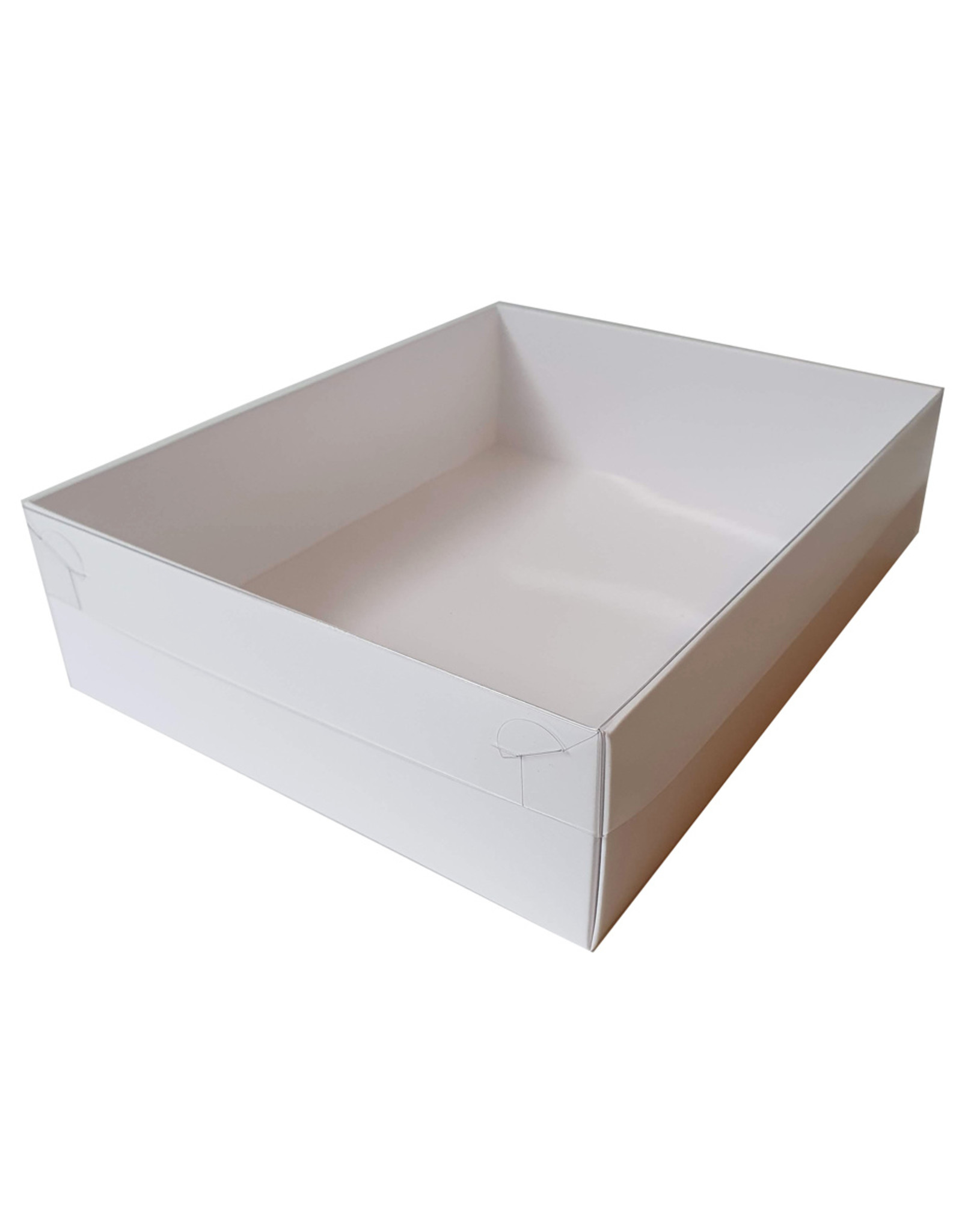 White sweets box with clear lid - 25 x 20 x 7 cm (per 50 pieces)