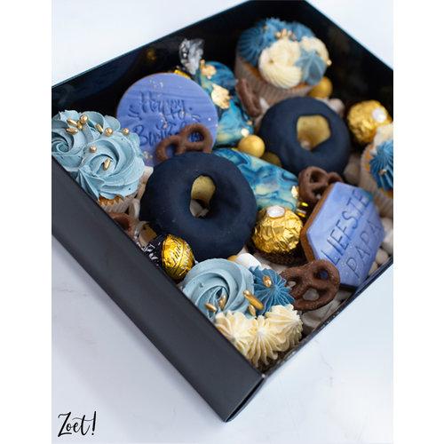 Zwarte sweetsbox met transparant deksel - 25 x 20 x 7 cm (per 50 stuks)
