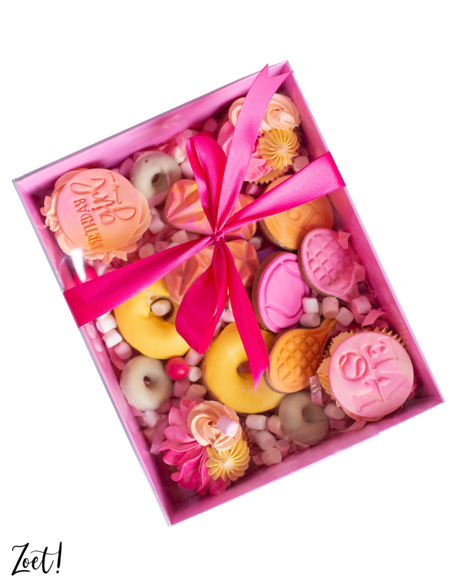 Pink sweets box with clear lid - 25 x 20 x 7 cm (per 50 pieces)