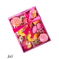 Candy pink sweets box with clear lid (50 pcs.)