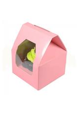 Roze doos in de vorm van een huisje  voor 1 cupcake  (per 25 stuks)