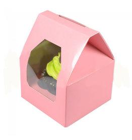 """Roze doos  voor 1 cupcake """"huisje"""" (25 st.)"""