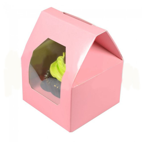 """Pink """"rooftop"""" box for 1 cupcake (25 pcs.)"""
