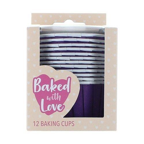 Cupcake bakjes paars (per 12 stuks)
