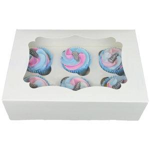 White box for 6 cupcakes (25 pcs.)