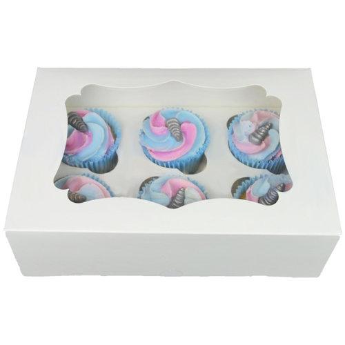 Witte doos voor 6 cupcakes (25 st.)