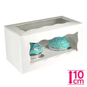 White box for 2 cupcakes (25 pcs.)