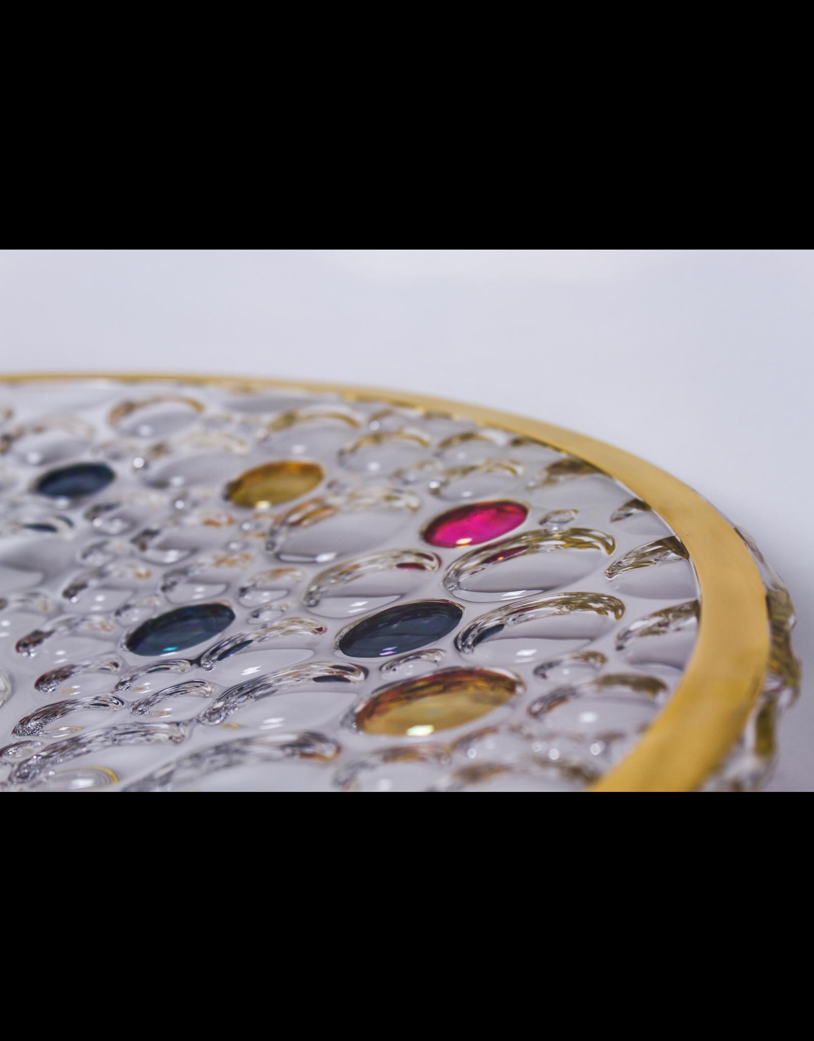 Skloglass Bolla kristal plateau op standaard / kleurrijk decoratie
