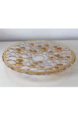 Skloglass Bolla kristal plateau met goud decoratie