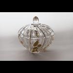 Skloglass Prague kristal schaal met deksel 19cm/ goud decoratie
