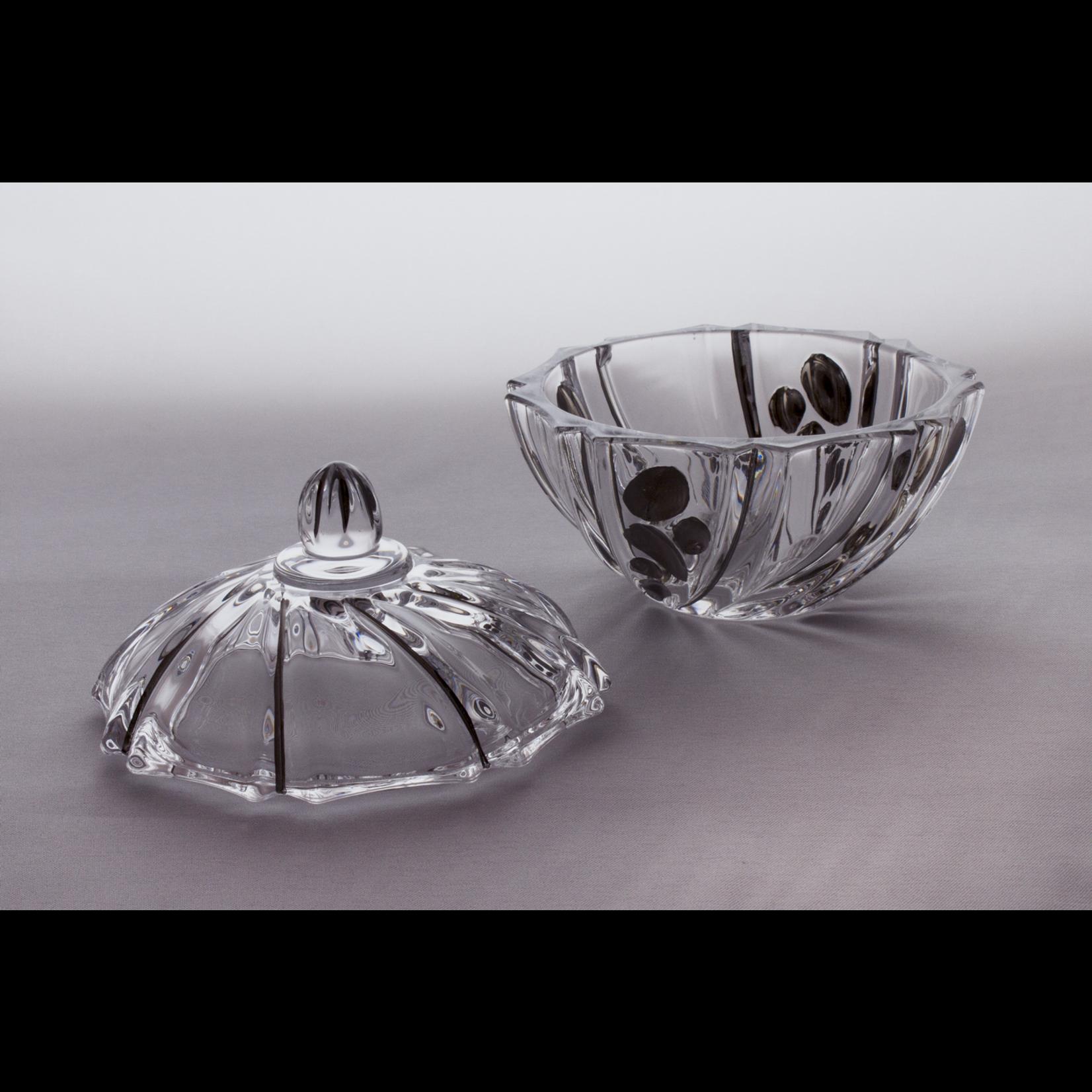 Skloglass Prague kristal schaal met deksel 19cm / platinum decoratie