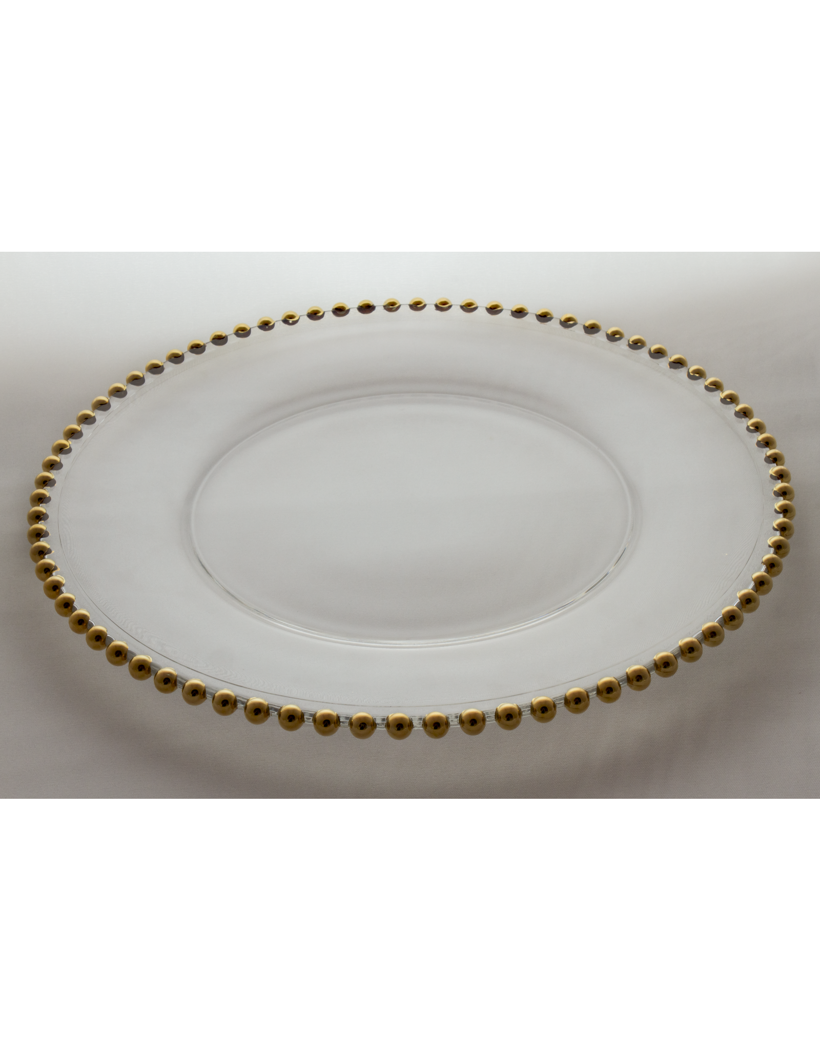Skloglass Belmonte kristal serveerbord met gouden parels