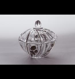 Skloglass Prague kristal schaal met deksel 12cm / platinum decoratie