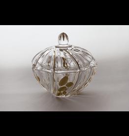 Skloglass Prague kristal schaal met deksel 12cm / goud decoratie