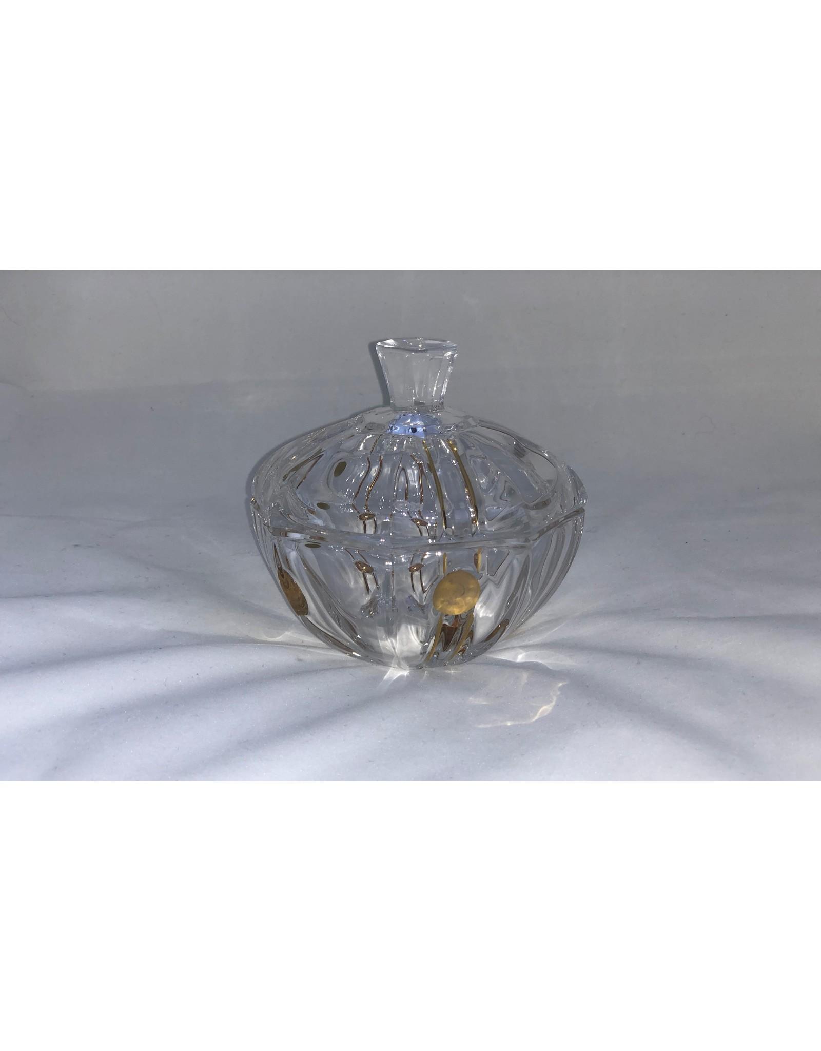 Skloglass Berlin kristal schaal met deksel 12cm / goud decoratie