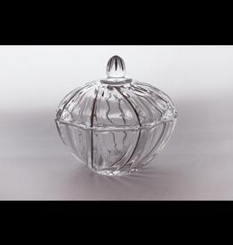 Skloglass Paris kristal schaal met deksel 12cm / platinum decoratie