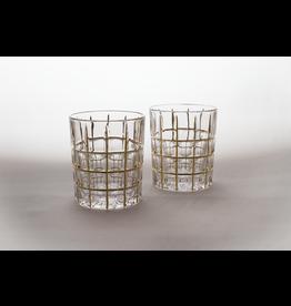 Skloglass Toronto whisky glas met goud decoratie / 6st