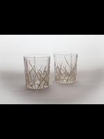 Skloglass Vancouver whisky glas met goud decoratie / 6st