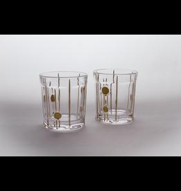 Skloglass Berlin whisky glas met goud decoratie / 6st