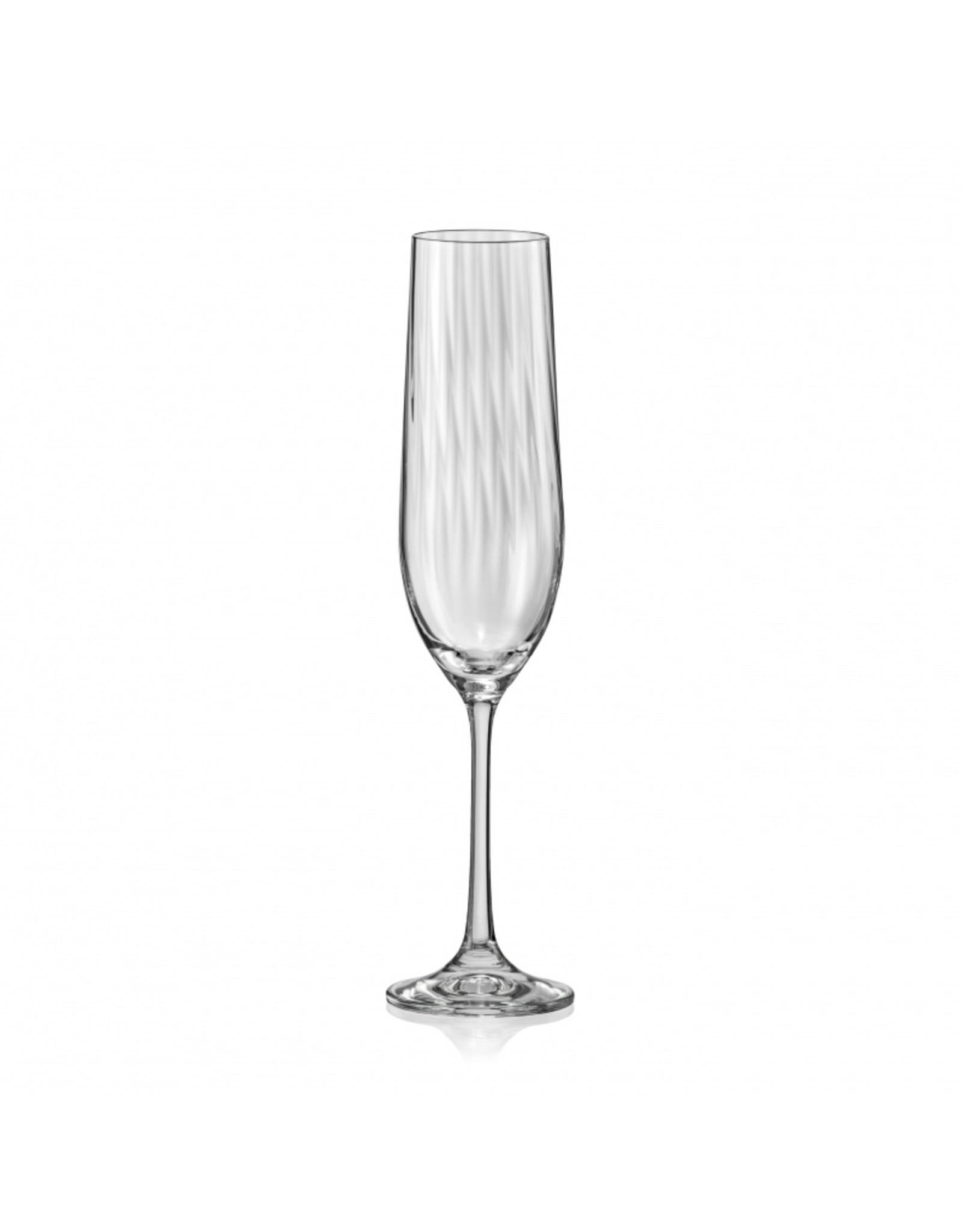 Crystalex Kristallen champagneglas Waterfall 190ml /6st