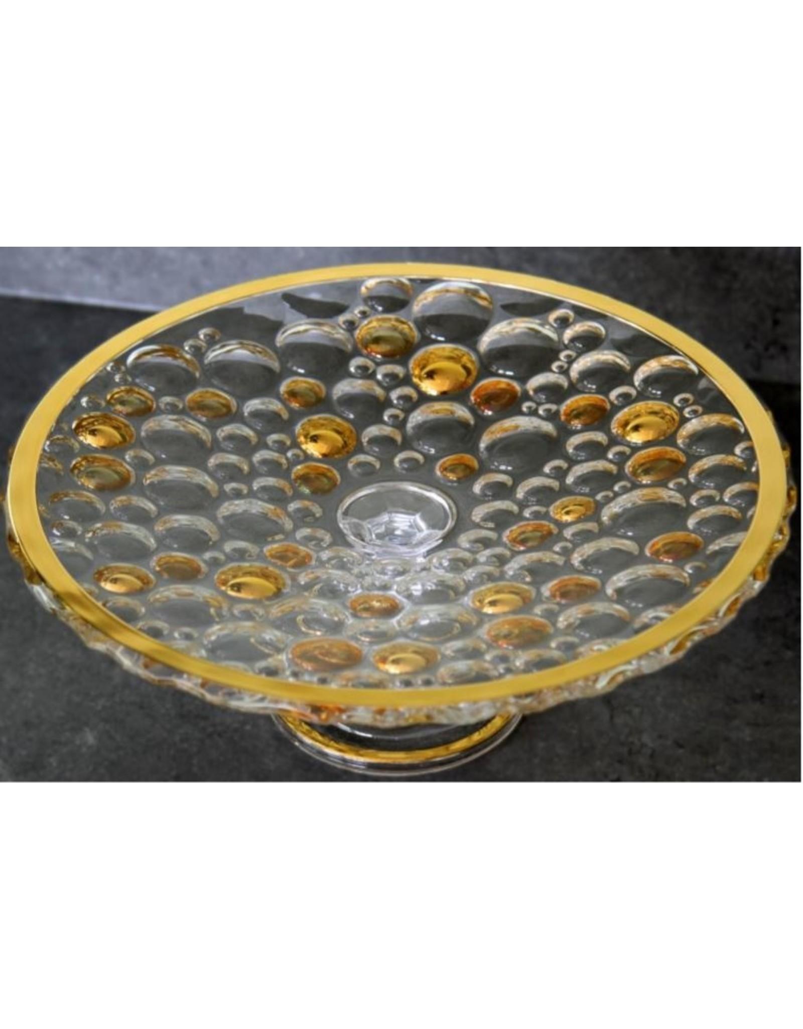 Skloglass Bolla kristal plateau op standaard / goud decoratie