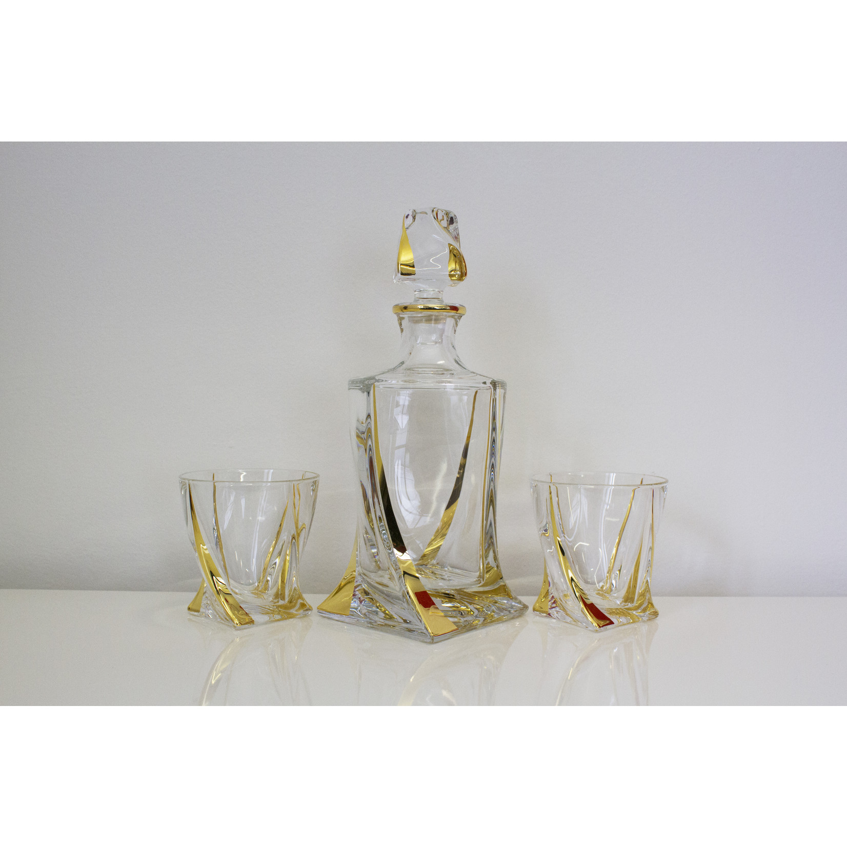 Crystalite Goud Quadro whisky set 7 delig