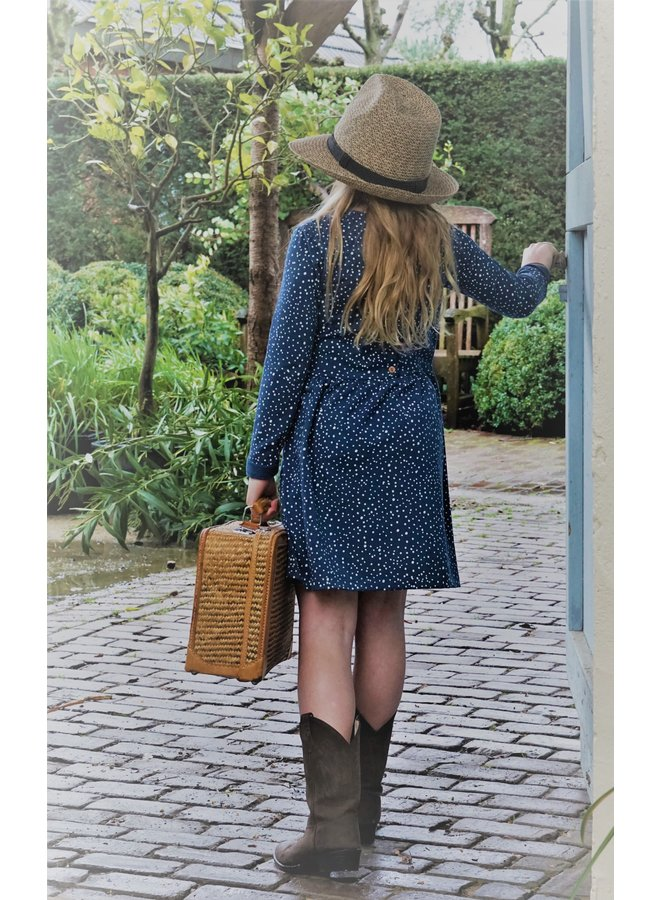 Dress Collar long sleeve - Dots Dusty Blue